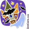 Ghost with bats and haunted house Vector Clipart illustration