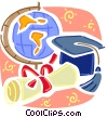 Educational Concepts Graduation cap, globe, and diploma Vector Clipart picture