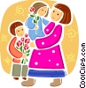 Mother carrying daughter and son with flowers Vector Clip Art picture