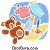 Teddy bear with baby clothes, rattle and bottle Vector Clip Art image