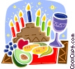 Menorah with corn and fruit with wine Vector Clip Art graphic