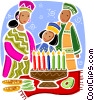 Vector Clipart image  of a Menorahs