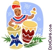 Vector Clipart picture  of a Drummers