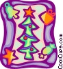 Christmas tree with gift, bell, star and candy Vector Clip Art image