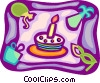 Vector Clip Art picture  of a Birthday cake presents