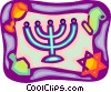 Menorah with star of David and scrolls Vector Clip Art picture