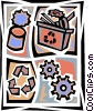 Recycle machine with gears, can, and recycle box Vector Clip Art picture