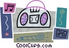 Vector Clipart graphic  of a Portable stereo with cassette tape