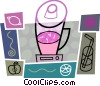 Vector Clipart illustration  of a Blender with juice