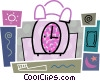 Vector Clipart image  of an Alarm clock with toothbrush, pillow