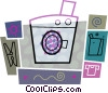 Vector Clip Art graphic  of a Washing machine with soap