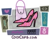 Vector Clip Art image  of a Dress shoes with purse, gloves