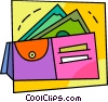 Vector Clip Art graphic  of a Wallet with dollar bills