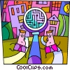 Vector Clip Art picture  of a Businessmen with a magnifying