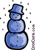Snowman wearing a hat with snow falling Vector Clip Art image