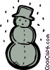 Snowman wearing a hat with snow falling Vector Clipart image
