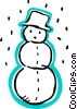 Snowman wearing a hat with snow falling Vector Clip Art graphic