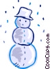 Snowman wearing a hat with snow falling Vector Clipart picture