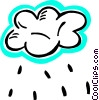 Vector Clip Art graphic  of a Rain clouds with rain