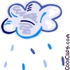 Rain clouds with rain Vector Clipart illustration