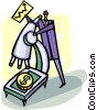 man with money under the microscope Vector Clipart picture