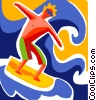 Vector Clipart graphic  of a Surfer catching a wave