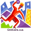 Bowler throwing the ball Vector Clipart illustration