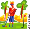 Man playing golf Vector Clipart image