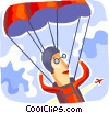 Skydiver with parachute opened Vector Clip Art picture
