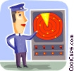Pilot with radar equipment Vector Clipart graphic