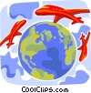 Commercial Jets circling the world Vector Clip Art graphic