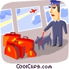 Airport security with drug sniffing dog and luggage Vector Clipart illustration