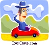 Businessman driving his car to work Vector Clip Art picture