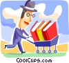 Businessman with cart full of books Vector Clipart picture