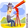 Businessman looking through telescope Vector Clipart illustration