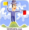 Businessman Semaphore directing flights Vector Clipart illustration