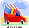 Colorful Bookmobile Vector Clip Art graphic