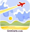 Commercial Jet taking off Vector Clip Art image