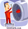 Airplane mechanic fixing engine Vector Clipart illustration