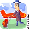 Passenger leaving airport with his luggage Vector Clip Art picture