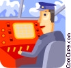 Pilot in flight with his instrument panel Vector Clipart graphic