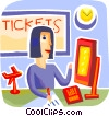 Woman working the ticket booth in the Airport Terminal Vector Clip Art image