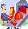 Airport personnel with luggage on conveyor belt Vector Clip Art graphic
