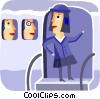 Flight attendant about to close door of airplane Vector Clipart picture