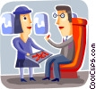 Flight attendant serving snacks to passengers Vector Clipart picture