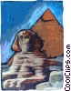 Vector Clip Art picture  of a Sphinx and Pyramid