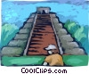 Vector Clip Art graphic  of a Incan Pyramid