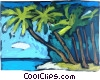 Palm trees on tropical beach Vector Clip Art graphic