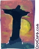 Brazil Christ Statue on Corcovado Vector Clipart graphic