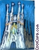 Vector Clip Art image  of a Barcelona Cathedral Sagrada